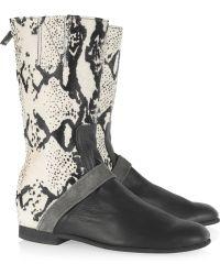 Newbark - Joey Leather and Calf Hair Boots - Lyst