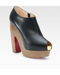 Christian Louboutin Leather Clog Peep Toe Ankle Boots - Lyst