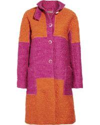Bottega Veneta Block-color Wool-blend Bouclé Coat - Lyst