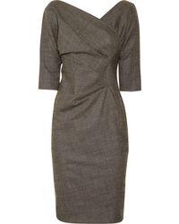 Lela Rose Wool-blend Wrap-effect Dress - Lyst