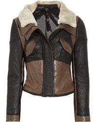 Tibi Leather-paneled Shearling Biker Jacket - Lyst