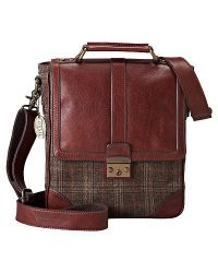 Fossil - Lineage Leather And Tweed Bag - Lyst
