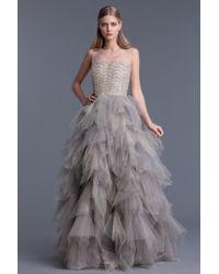 Oscar de la Renta Tulle Sleeveless Gown beige - Lyst