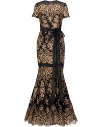 Carolina Herrera Gold Lace Gown - Lyst