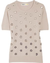 Clements Ribeiro Crystal Daisy-embellished Cashmere Sweater - Natural