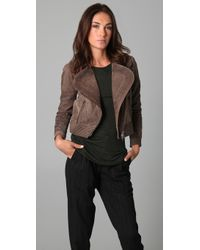 Cut25 by Yigal Azrouël - Suede Moto Jacket with Asymmetrical Zip - Lyst