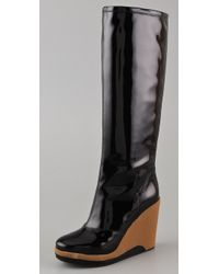 Marc By Marc Jacobs Patent Leather Knee-high Wedge Rain Boots - Black