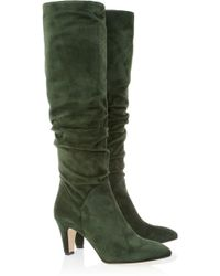 Brian Atwood - Berton Ruched Suede Knee Boots - Lyst