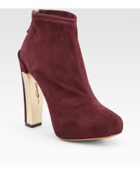 B Brian Atwood Edeline Stretch Suede Ankle Boots - Lyst