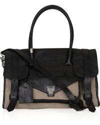 Proenza Schouler Medium Ps1 Travel Leather and Felt Tote - Black