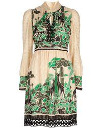 Anna Sui Deco Deers Dress green - Lyst
