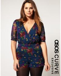 ASOS - Asos Curve Exclusive Playsuit in 40s Floral Print - Lyst