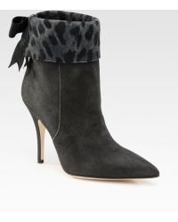 Kate Spade Leigh Suede Leopard-print Cuff Ankle Boots - Lyst