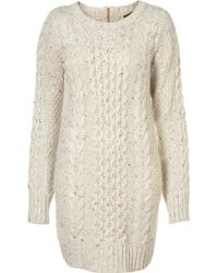 Topshop Knitted Cable Dress - Lyst