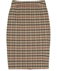 Daks Checked Stretch-cotton Pencil Skirt - Natural
