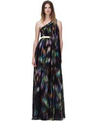 Matthew Williamson Blur Palm Chiffon One Shoulder Gown - Lyst