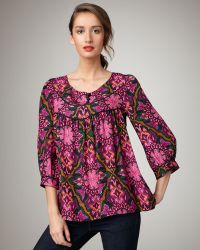 Milly Suzanne Printed Top - Lyst