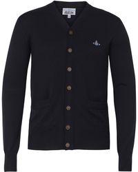 Vivienne Westwood Navy Classic Long Sleeve Cardigan - Blue