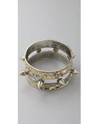 Anndra Neen Half Size Spike Bangle gold - Lyst