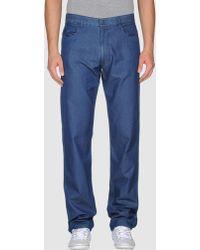 Aquascutum Blue Denim Pants - Lyst