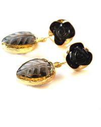 Toosis Leaf and Flower Carved Brown Smoky Quartz Earring - Lyst