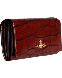 Vivienne Westwood Burgundy Ebury Crocodile Large Wallet red - Lyst