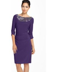 Adrianna Papell Beaded Jersey Sheath Dress - Lyst