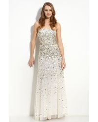 Adrianna Papell Sequined Strapless Mesh Gown - Lyst