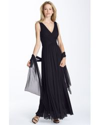 Alex Evenings Ruched Mesh Gown with Shawl - Lyst