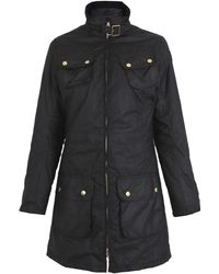 Barbour Black International Parka Coat - Lyst