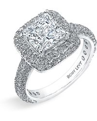 Bony Levy Multi-Row Micro Pave Diamond Engagement Ring Setting silver - Lyst