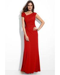 Calvin Klein Asymmetrical Ruched Jersey Gown - Lyst