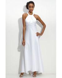 Calvin Klein Sequin Trim Satin Gown - Lyst