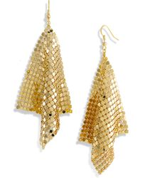 Cara Accessories Diamond Shape Mesh Earrings gold - Lyst