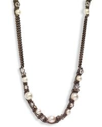 Givenchy Faux Pearl & Chain Long Necklace - Lyst
