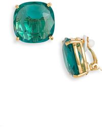 Kate Spade Large Faceted Clip Earrings - Lyst