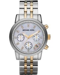 Michael Kors Mid-Size Silver Color Stainless Steel Ritz Chronograph Glitz Watch - Lyst