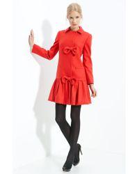 RED Valentino Ruffle Hem Wool Coat red - Lyst
