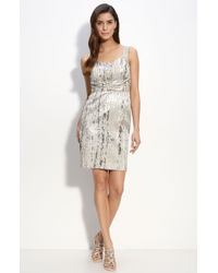 St. John Evening Pixel Metallic Jacquard Dress - Lyst