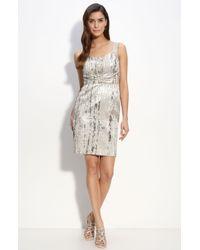 St. John Evening Pixel Metallic Jacquard Dress gray - Lyst