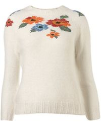 Topshop Knitted Cross Stitch Jumper - Lyst
