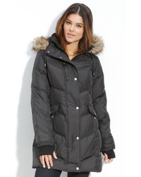 Betsey Johnson Quilted Down Parka with Faux Fur Trim - Lyst