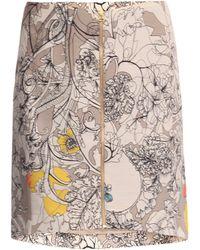 Cacharel Wool & Silk Poppy-print Skirt beige - Lyst
