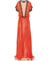 Jenny Packham - Lace-trimmed Silk-chiffon Robe - Lyst