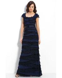 Tadashi Shoji Tiered Chiffon & Lace Gown - Lyst