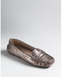 Ak Anne Klein Gold Grefty Loafers - Lyst