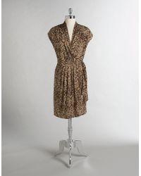 Ak Anne Klein - Animal Print V-neck Wrap Dress - Lyst