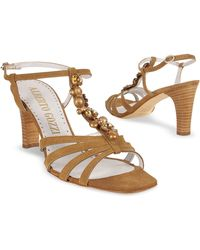 Alberto Gozzi - Jeweled Tan Suede T-strap Sandal Shoes - Lyst