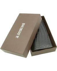 A.Testoni - Black Crocodile Coat Wallet - Lyst