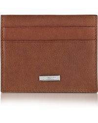A.Testoni - Brown Stamped Calf Leather Slim Card Holder - Lyst